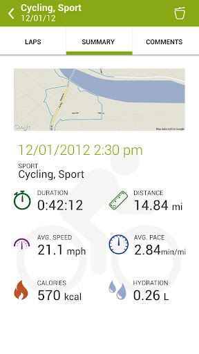 Endomondo workout summary